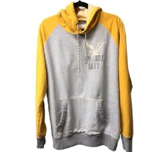 American Eagle Gray and Yellow Pullover Hoodie